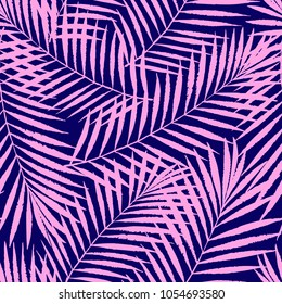 Summer colorful tropical palm tree leaves seamless pattern. Vector grunge design for cards, web, backgrounds and natural product