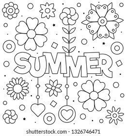Summer. Coloring page. Vector illustration. Sun, clouds, flowers.