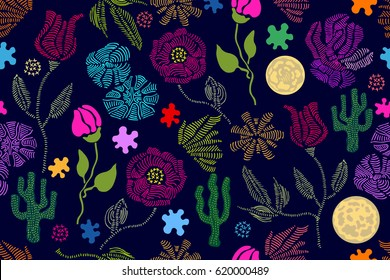Summer colors. Floral seamless vector pattern with embroidery wildflowers and succulents. Stylized hand drawn elements. 1950s-1960s motifs. Retro textile design collection. Colorful on dark.