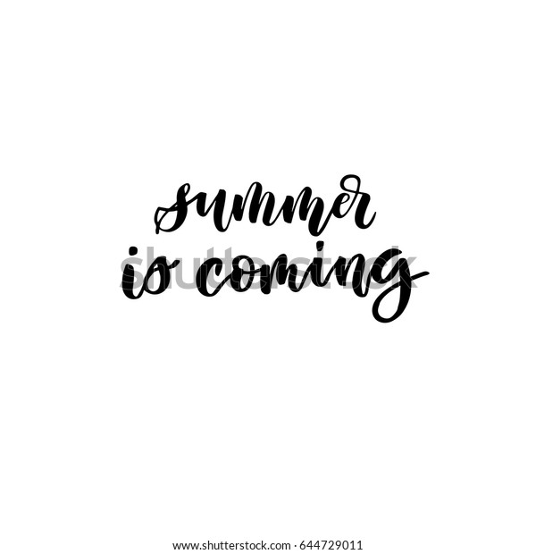 Summer Coming Creative Unique Lettering Quotes Stock Vector
