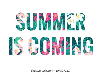 Summer is coming lettering. Retro vector tropical letters with pink and white frangipani (plumeria) flowers and palm leaves