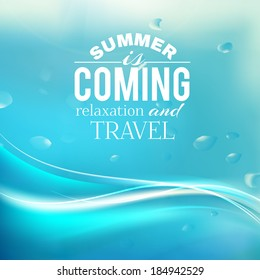 Summer coming phrase over wave background. Vector illustration.