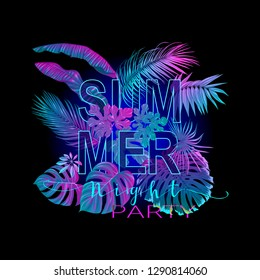 Summer composition. Exotic plants and palm leaves  in neon, fluorescent colors. Vector illustration.