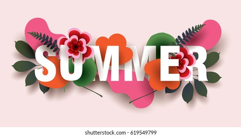 SUMMER. Composition with flowers, leaves and abstract elements. Design for your poster, banner, flyer. Vector.