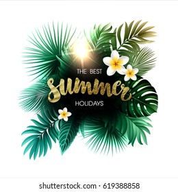 Summer Composition with Leaves and Flowers of Tropical Exotic Plants for Party or Wedding Invitation, Flyer or Travel Advertising.