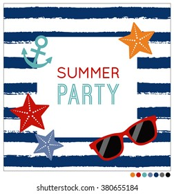 Summer concept invitation card template with starfish, sunglasses and anchor on navy brush stripe background