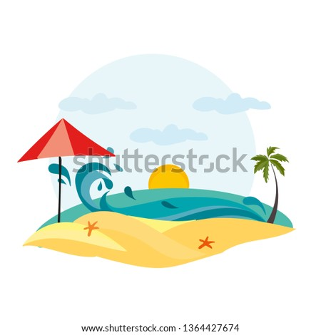 Summer Concept Palm Beach Sea Vacation Stock Vector Royalty