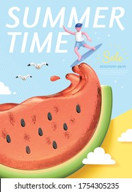 Summer concept poster, cute character riding juice wave of tasty watermelon, 3d illustration