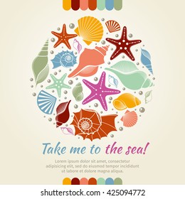 Summer concept with shells and sea stars. Round composition, starfish, nature aquatic. Vector illustration
