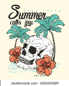 summer concept tee print design as vector with skull, palms and tropical flower drawn
