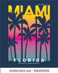 summer concept tee print vector design with typo and palms