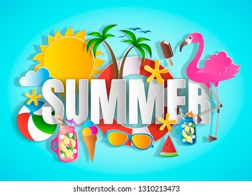 Summer concept with word, paper cut style vector illustration