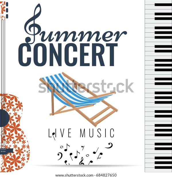 Summer Concert Jazz Blues Music Festival Stock Vector