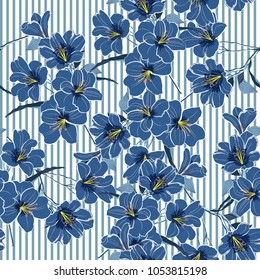 Summer cool blue blooming flowers  with  on thesky blue striped background. Vector seamless pattern. Romantic garden flowers illustration. Stylish colors for fashion fabric and all prints.