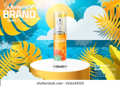 Summer cosmetic skincare ads on cylinder stage and paper art tropical forest background in 3d illustration