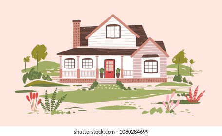 Summer cottage or beautiful two-storey suburban residential house with porch surrounded by beautiful nature and flowering plants. Country estate. Cartoon colorful vector illustration in flat style