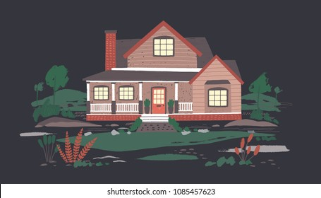 Summer cottage or mansion with porch surrounded by beautiful nature in darkness. Suburban residential house with lit windows in night time. Colorful cartoon vector illustration in flat style