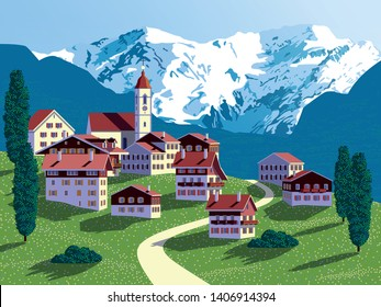 Summer countryside in Switzerland with traditional houses and mountains in the background. Handmade drawing vector illustration. Pop art style poster. All objects are grouped into different layers.