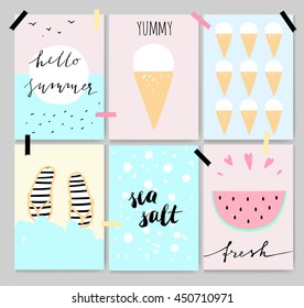 Summer cute artistic cards, posters, lettering. Pastel colors, cartoon style. Beautiful backgrounds with watermelon, ice cream, sea and sun.