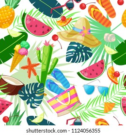 Summer cute seamless pattern. Vector cartoon illustration. Summertime travel, tourism and vacation background. Fashion textile print design.