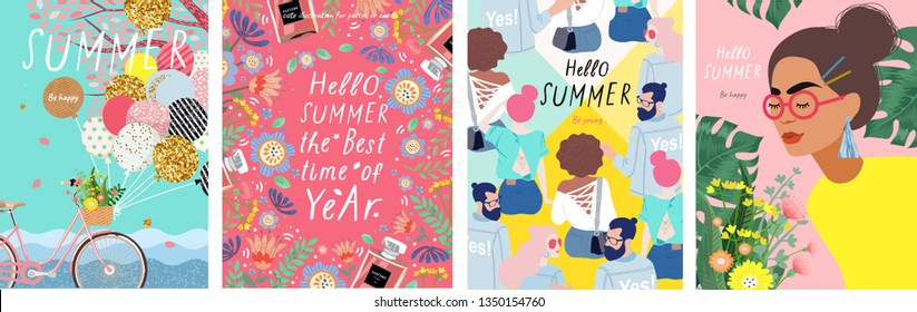 Summer! Cute vector illustration of a woman with flowers, a bicycle with balloons, young people and a floral frame for a poster, card, flyer or banner