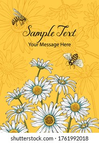 Summer Daisies and Bees Vector Frame Background