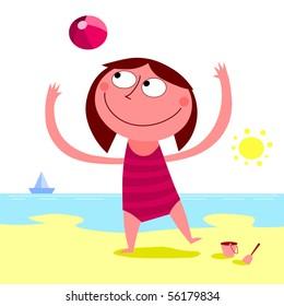Summer day on the beach - vector