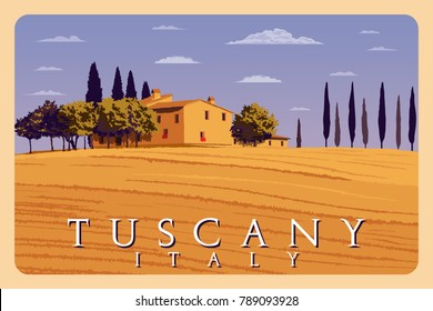 Summer day in Tuscany, Italy. Handmade drawing vector illustration. Poster in the Art Deco style