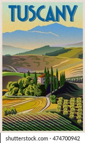 Summer day in Tuscany, Italy. Poster in the Art Deco style