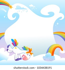 Summer day with unicorn. Cute unicorns banners