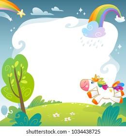 Summer day with unicorn. Cute unicorns banners