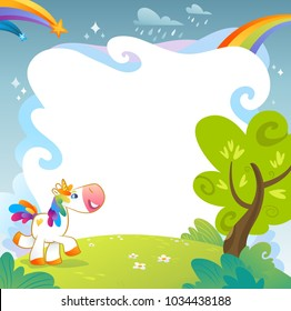 Summer day with unicorn and rainbow. Cute unicorns banners