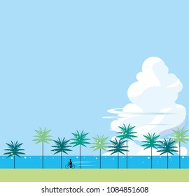Summer days in the southern country of palm trees and cloven clouds