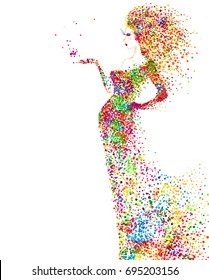 Summer decorative composition with girl. Colored particles formed abstract woman figure.