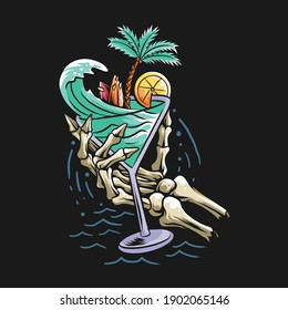 summer design concept beach skull hand holding a glass filled with sea waves, coconut trees and a surf board. vector artwork