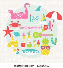 summer design elements,summer illustration