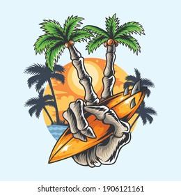 summer design hand skull coconut tree finger holding beach surf board tshirt artwork vector