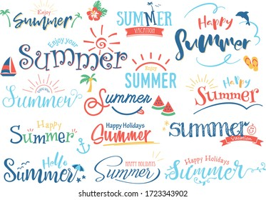Summer design letters and illustrations