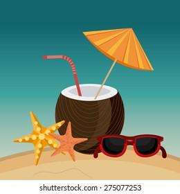 Summer design over beachscape design, vector illustration.