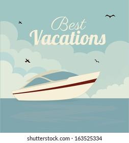 summer design over  blue background vector illustration