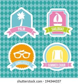 Summer design over blue background, vector illustration