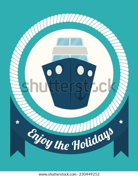 Summer design over blue background,vector illustration