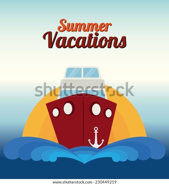 Summer design over seascape background,vector illustration