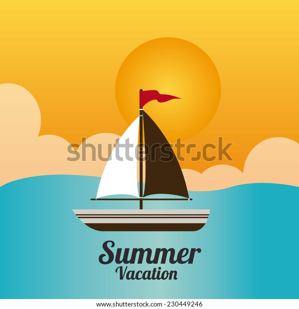 Summer design over seascape background,vector illustration