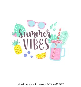 Summer design sticker with tropical beach elements and hand lettering words. Great for t-shirt prints, tote bags and shoppers, fabric, cards, posters and web.