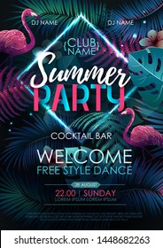 Summer disco party typography poster with flamingo and fluorescent tropic leaves. Nature concept