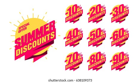 Summer discount banner with percentage set -10%; -20%; -30%; -40%; -50%; -60%; -70%; -80%; -90% on the sun