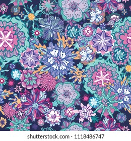 Summer Doodle Floral Pattern Seamless vector texture with colorful lineart futuristic flowers on blue background