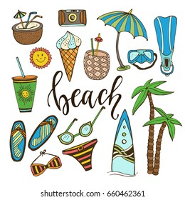 Summer doodle icons. Vector set with surfboard, swimsuit, palm, fins, cocktails, ice cream, drink, sunglasses, umbrella. Hand drawn stickers collection