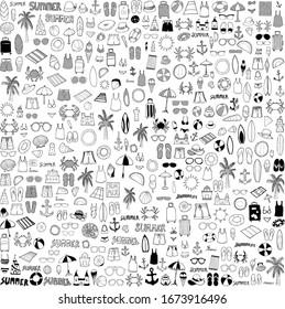 Summer doodle set. Drawing vector illustration hand drawn